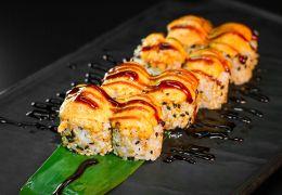 Ролл запеченный с жареным лососем